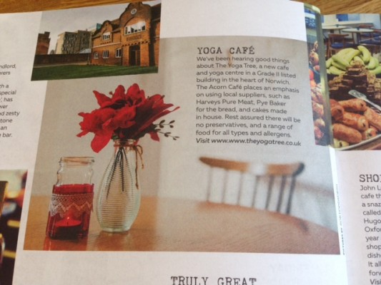 """Yoga Tree Café 50 All Saints Green, Norwich feature in Feast """"foodie"""" magazine"""