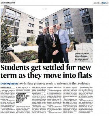 Press coverage of Powis Place, Aberdeen opening