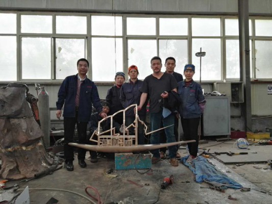 Completed sculpture ready to set sail from China to Durham