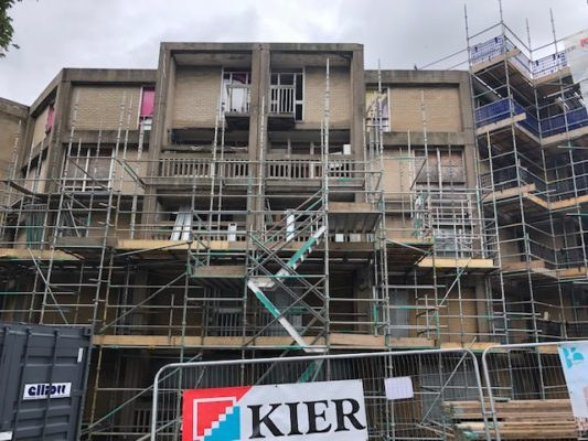 Drone footage of progress at Beton House, Park Hill, Sheffield